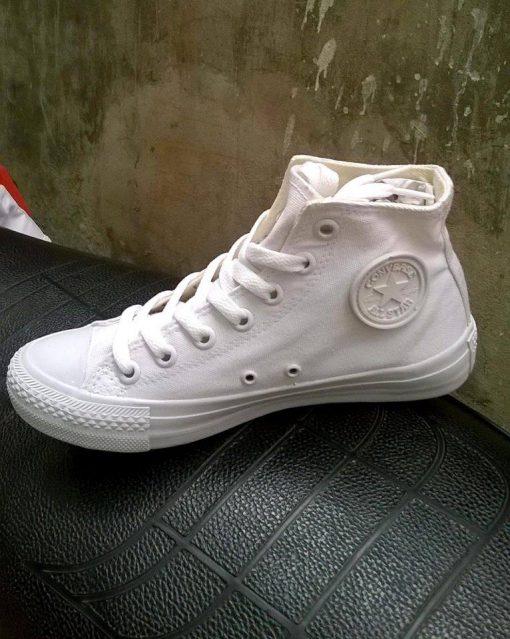 Converse classic full trắng cổ cao