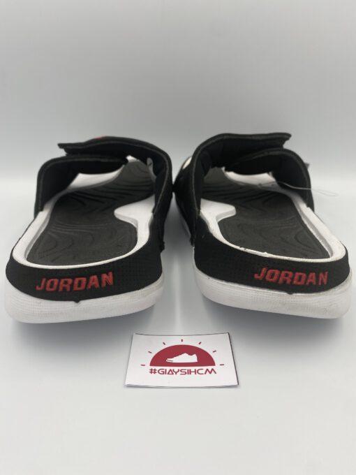 Dép Jordan Hydro 4 đen trắng logo đỏ