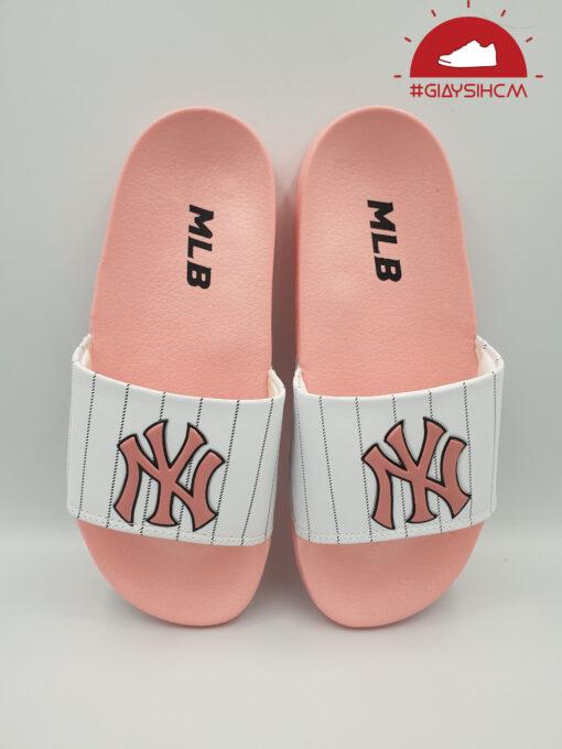 Dép MLB NY hồng quai trắng