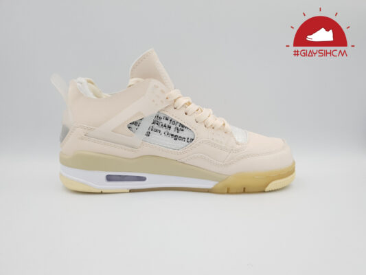 "Nike Air Jordan 4 X Off White ""Sail"" Kem replica"