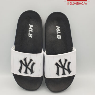 Dép MLB NY đen quai trắng